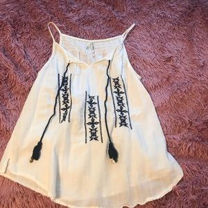 White tank top with embroidery